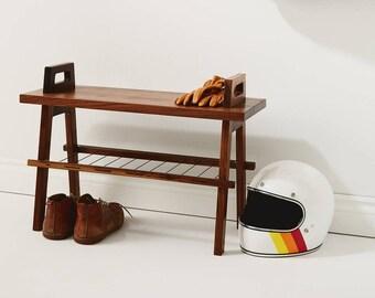"""25"""" entryway/hallway storage bench with shoe rack in walnut"""