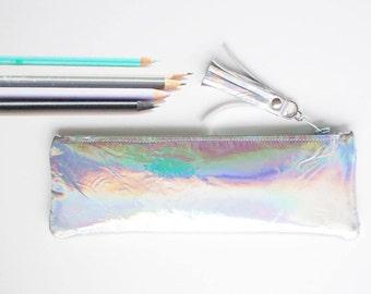 Hologramme étui à crayon en cuir, miroir de poche stylo, Slim en cuir sac à cosmétiques, étui à crayon artiste, holographique étui en cuir, rentrée des classes