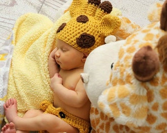 CROCHET PATTERN: Newborn Giraffe Set - Baby Giraffe Crochet Pattern - Animal Crochet Pattern - Giraffe Photo Prop - Newborn Giraffe Costume