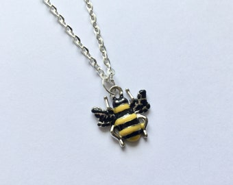 Bee Necklace, Bee Jewellery, Bumble Bee Necklace, Black and Yellow Jewellery, Gift for Her, Birthday Gift