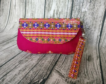 Glenda's Clutch - Pink Batik