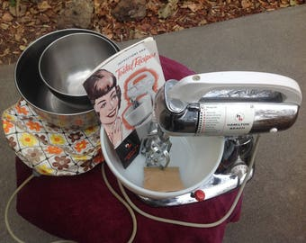 Hamilton Beach mixer model K food mixer with extra bowls , cover and book