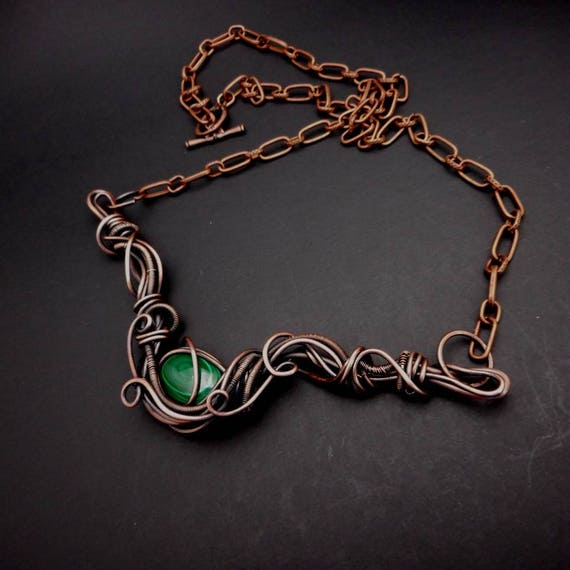 Copper Wire Wrapped Malachite Necklace - Malachite Cabochon Bib - Wire Wrapped bid Necklace- Gifts for her