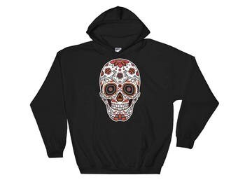 Skull Face - Day of the Dead Hooded Sweatshirt