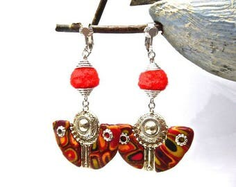 Clip earrings ethnic of Mayan inspiration