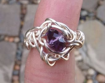 Wire Jewelry, Ring, Handmade- Purple Crystal Bead and Silver Plated Silver Design, Ring, Size 4