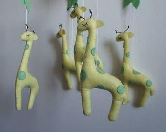 Handmade baby giraffe felt mobile