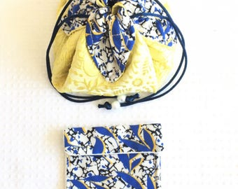 Travel / Pocket fabric jewelry in sunny shades blue and yellow 12cm.