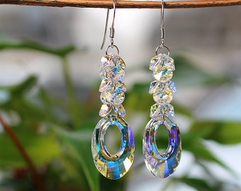 925 silver  Bridal Jewelry Bridal Earrings, Drop Crystal Bridal Earrings, Wedding Earrings, Bridal Jewelry E002