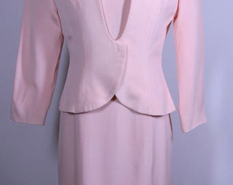 Pink Women's Dress with Jacket Suit with Shoulder Pads made by Rimini