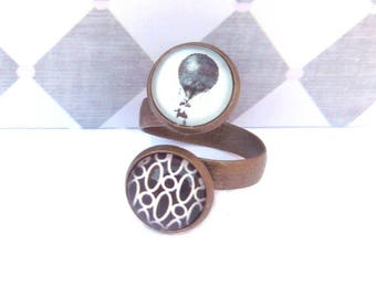 steampunk balloon ring and black vintage brass double round cabochon 12mm