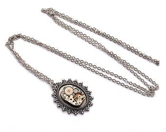 steampunk necklace silver mechanism shows oval