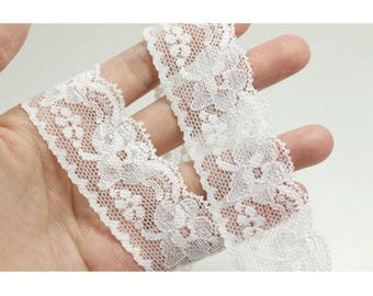 2 yards 3.2cm stretchy lace, elastic white lace, floral lace, headband accessories