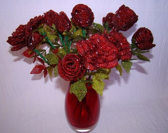 Handmade Beaded Rose Dark Red
