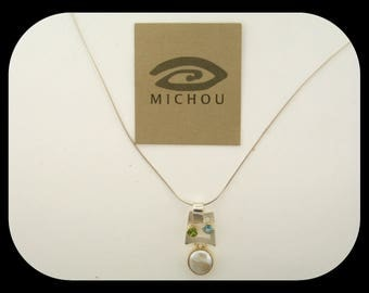 Signed Michou 925 Sterling Silver 22K Gold Vermeil Pearl Blue Topaz & Peridot PENDANT NECKLACE