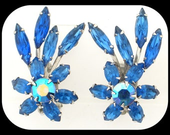 Vintage Signed Judy Lee Navette Blue Aurora Borealis Rhinestone Clip On EARRINGS