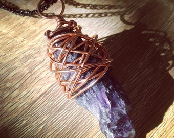 Amethyst copper wirewrap pendant necklace