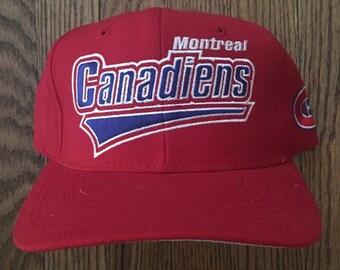 Vintage 90s Montreal Canadiens Starter NHL Snapback Hat Baseball Cap