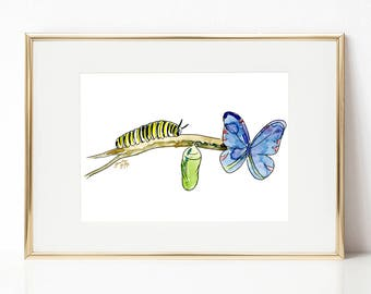Butterfly DIGITAL DOWNLOAD, Easter Printable Art, Spring Printable Art, Caterpillar cocoon, Nursery Art, Butterfly lifecycle artwork