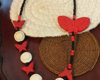 Red and white cinnabar beaded necklace