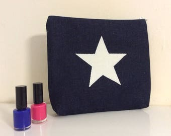 makeup bag with white star, Denim blue and white zip purse, star wash bag,Denim  wash bag,makeup bag,pencil case, white star denim zip bag