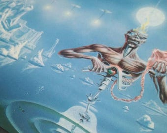 Iron Maiden , Seventh Son of ,maxi original postcard, official. vintage 1988. With the band's history up to that date. In perfect condition.