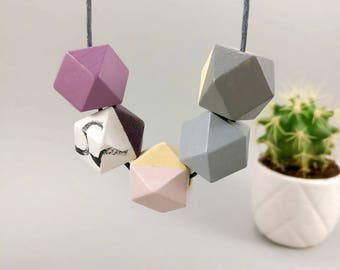 Geometric Necklace - Aubergine, Marble, Pink & Grey | Statement Necklace | Gift for her | Geometric Jewellery | Beaded necklace | Geo