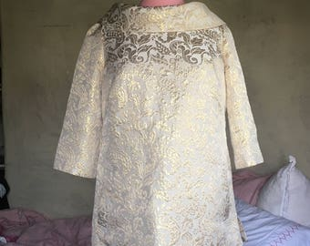Vintage Mod Lilly Pulitzer Gold Metallic Mini Dress