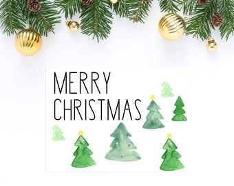 Merry Christmas Cards - Christmas Tree Card - Holiday Card - Greeting Cards - Illustrated Cards - Blank Cards - Watercolor Cards