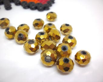 (PF83) Set of 24 effect Crystal faceted glass beads 8 * 6mm antique gold
