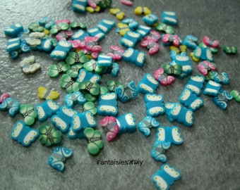 (TRF5) Set of 100 sliced polymer clay/fimo Butterfly motif to stick