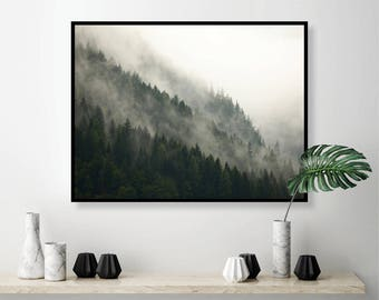 Forest Print, Misty Forest, Printable Art, Downloadable Prints, Scandinavian, Mountain, Forest, Botanical, Print, Wall Art, Poster, Art