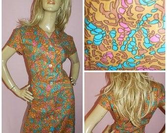 Vintage 50s Multicoloured GEOMETRIC print Tea Day dress 16 L 1950s Mid Century