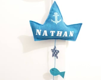 Boat mobile blue to customize it for a nursery or child