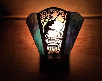 Stained Glass Night Light with Cat Filigree