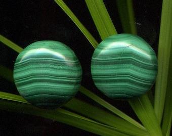 Malachite x 2 (428), 18 x 18 x 7 mm, round cabochons