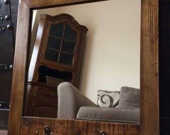 Reclaimed Mirror, Pallet Mirror, Rustic Mirror, Farmhouse, Bathroom Mirror, Hallway Mirror, Reclaimed Wood, Barbers Mirror, Home Decor