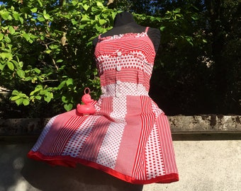 Retro Vintage 60s Red and White Polka Dot Dress