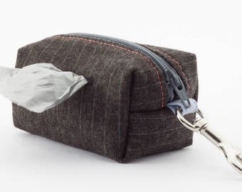 Dog poop bag holder in charcoal gray pinstripe wool with coral lining // clip on mini dopp kit zipper pouch // gifts for dog lovers