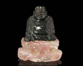 Antique Chinese Carved Rose Quartz Green Hardstone Buddha Figure Statue