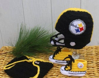 Baby FOOTBALL hat and shoes, NEWBORN Football hat, Baby shoes, Pittsburgh Steelers Inspired (Handmade by me and not affiliated with the NFL