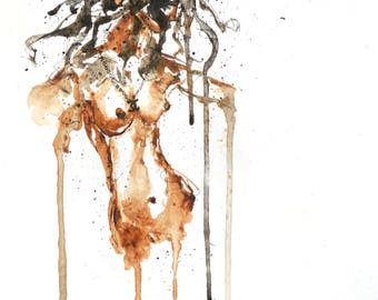 Expressive A4 Watercolour sketch of Nude Woman Brown/Black/White