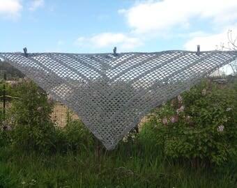 Gray shawl crocheted decorative stitches