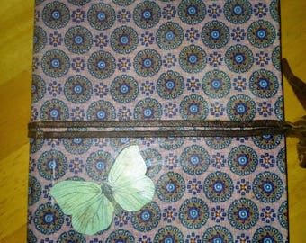 Fabric covered composition notebook, journal, butterfly detail