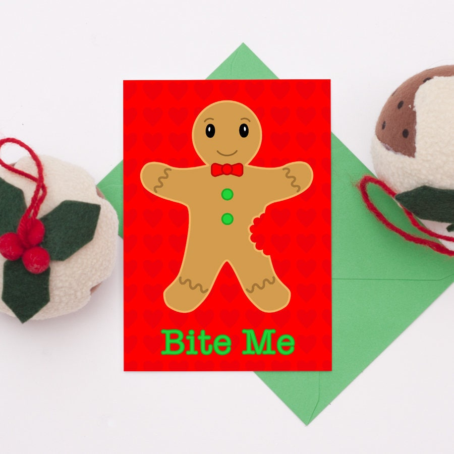 Naughty Christmas Card Unique Christmas Card Gingerbread Man Card