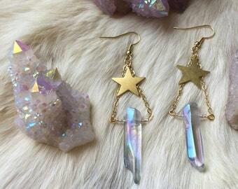 Aqua Angel Aura Quartz Gold Star Earrings