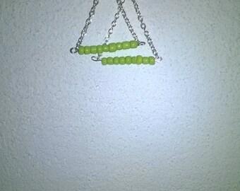 pierced earring handmade bead and chain
