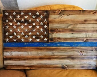 Rustic Thin Blue Line flag