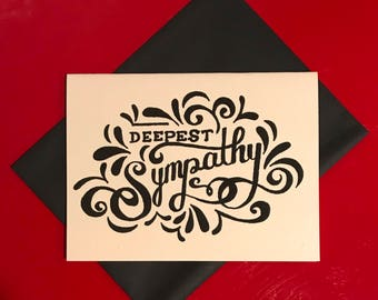 black and white hand lettered sympathy card