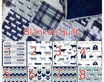 Custom crib bedding -farm life in blue. cows. sheet, rooster, barn, baby boy nursery, dusty blue nursery, bumpers, quilt, sheet